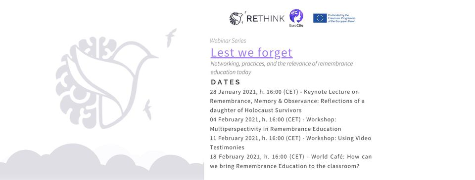 Lest We Forget – webinars on remembrance education