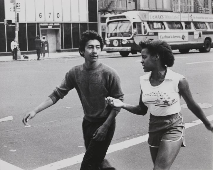 Rudy Burckhardt, Untitled, New York (couple walking in street), c. 1978 gelatin-silver print