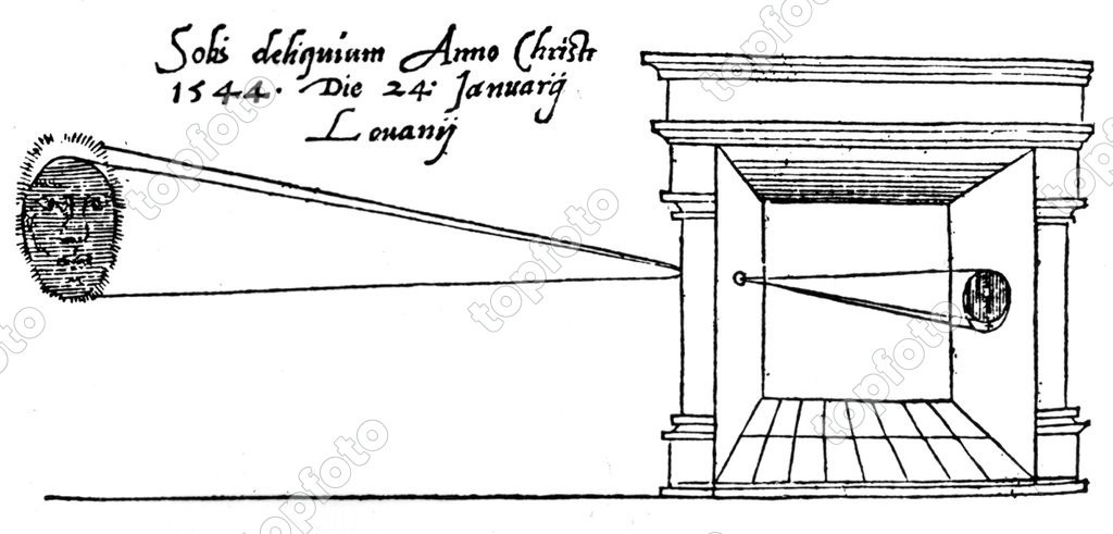 Gemma Frisius - the first published illustration of a Camera Obscura, observing a solar eclipse on 24 January 1544 KU Leuven, Belgium